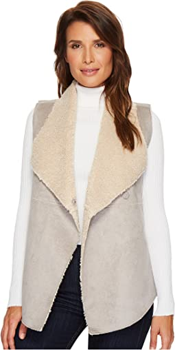 Dylan by True Grit - Velvet Suede & Faux Fur Reversible Snap Vest
