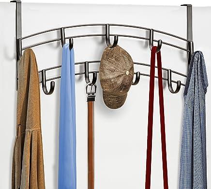 Lynk Over Door Accessory Holder - Scarf, Belt, Hat, Jewelry Hanger - 9 Hook Organizer Rack - Bronze