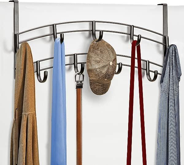 Lynk Over Door Accessory Holder Scarf Belt Hat Jewelry Hanger 9 Hook Organizer Rack Bronze