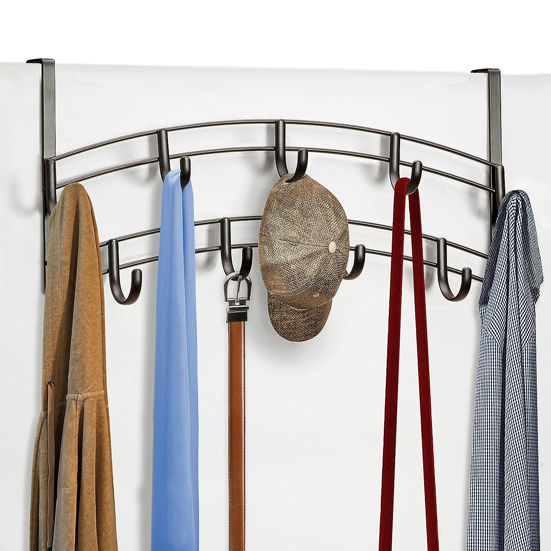 有用強度純度(Bronze) - Lynk Over Door Accessory Holder - Scarf, Belt, Hat, Jewellery Hanger - 9 Hook Organiser Rack - Bronze