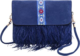 Pulama Vintage Ostrich Feather Suede Purse Cellphone Wallet Bag Crossbody