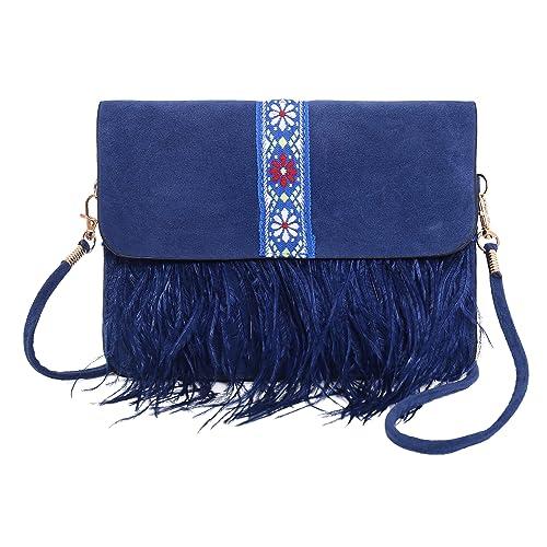 458080b5731 Pulama Vintage Ostrich Feather Suede Purse Cellphone Wallet Bag Crossbody