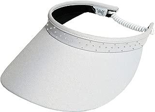 Women's Adjustable Coil Visor Glove It Golf & Tennis Head Visors for Women UV 50 Protection Ladies Sun Visor Hat Large Wide Brim Pink Bling