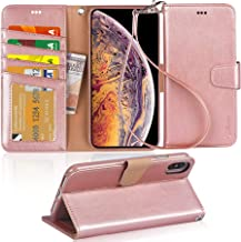 Arae Wallet Case for iPhone Xs Max PU Leather flip case Cover [Stand Feature] with Wrist Strap and [4-Slots] ID&Credit Cards Pocket for iPhone Xs Max 6.5 inch - Rose Gold