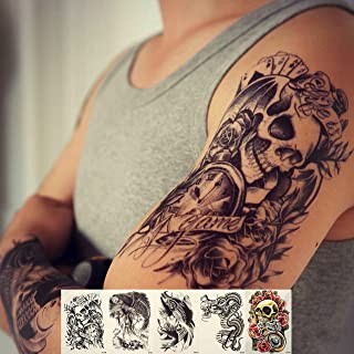 Zzurcca Large Realistic Temporary Tattoos Cover Set 5 Pcs Stickers For Men Black Fake Tattoo Kit For Women (Dragon, Skull, Koi Fish, Death Sickle)