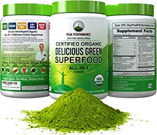 Peak Performance Organic Greens Superfood Powder. Best Tasting Organic Green Juice Vegan..