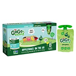 GoGo squeeZ Applesauce on the Go, Variety Pack (Apple/Gimme 5), 3.2 Ounce (12 Pouches), Gluten Free,
