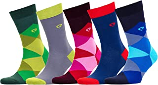 Bluehill Men's 5 Pack Luxury Colorful Casual Healthy Cotton Seamless Toe Socks Gift Box