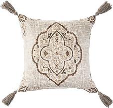 "LR Home LR07375-BRWIIPL Antique Beige and Brown Medillion Throw Pillow 18"" x 18"""