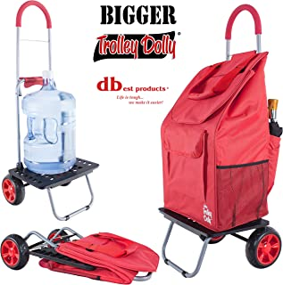 dbest products Bigger Trolley Dolly Cart, Red Shopping Grocery Foldable Cart
