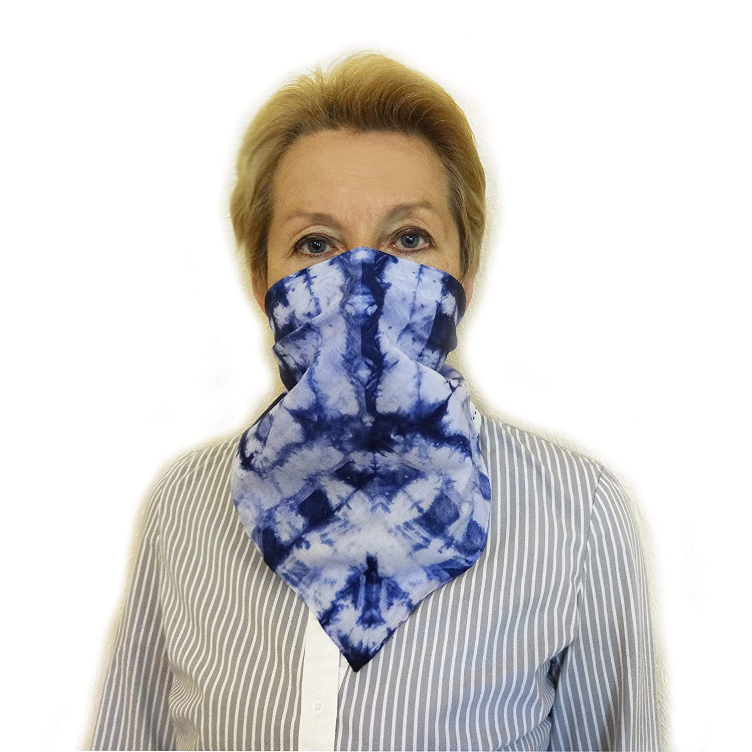 Hand Dyed Cotton Bandana Small Arlington Mall Cheap mail order specialty store Scarf Blue Face White Mask Handma