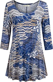 Womens 3/4 Sleeves Floral Tunic Shirts Summer Casual Dressy Blouse Tops