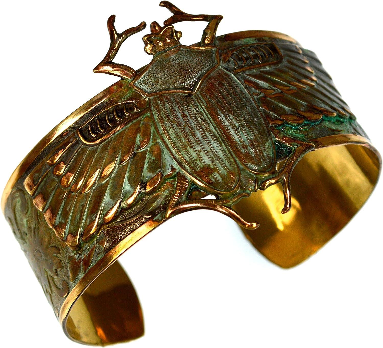 Elaine Coyne Patina Egyptian Motif Classic Scarab Wearable Art Cuff Bracelet