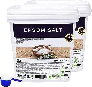 NortemBio Sal de Epsom 2x6 Kg. Fuente concentrada de Magnesio, Sales 100% Naturales. Baño y Cuidado Personal. E-Book Incluido.