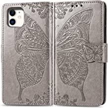 Butterfly Wallet Case, for iPhone 11 Pro Max flip Case CaseHQ Pu Leather Heavy Duty Kickstand Closure Magnetic with Lanyard Cover for Women for Men for Apple 11 Pro Max Case 6.5 inch - Grey
