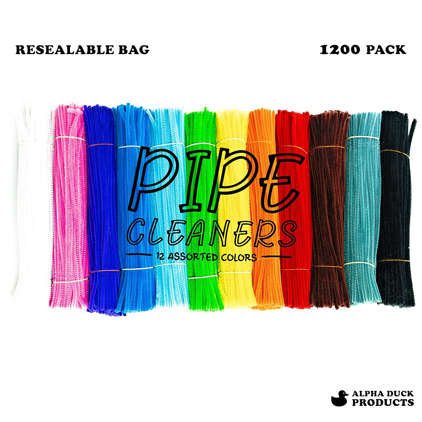 1,200 Pipe Cleaners in 12 Assorted Colors, Value Pack of Chenille Stems for DIY Arts and Craft Projects and Decorations