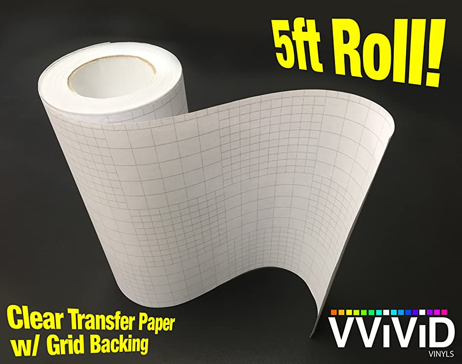 VViViD High Gloss Clear Vinyl Transfer Paper Self-Adhesive Roll w/Grid Backing 6