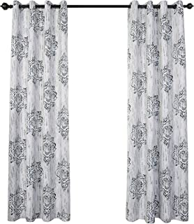 MYSKY HOME Dahlia Flower Damask Style Fashion Design Print Thermal Insulated Blackout Curtain with Grommet Top Dining Room, 52 by 84 inch, Blue - 1 Panel
