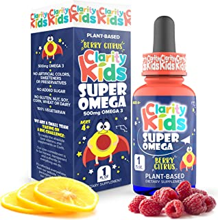 Super Omega for Kids (1 fl oz) with Vegan DHA + EPA that Tastes Great, Omega 3 Kids Need for More Focus & Quality Sleep, A...