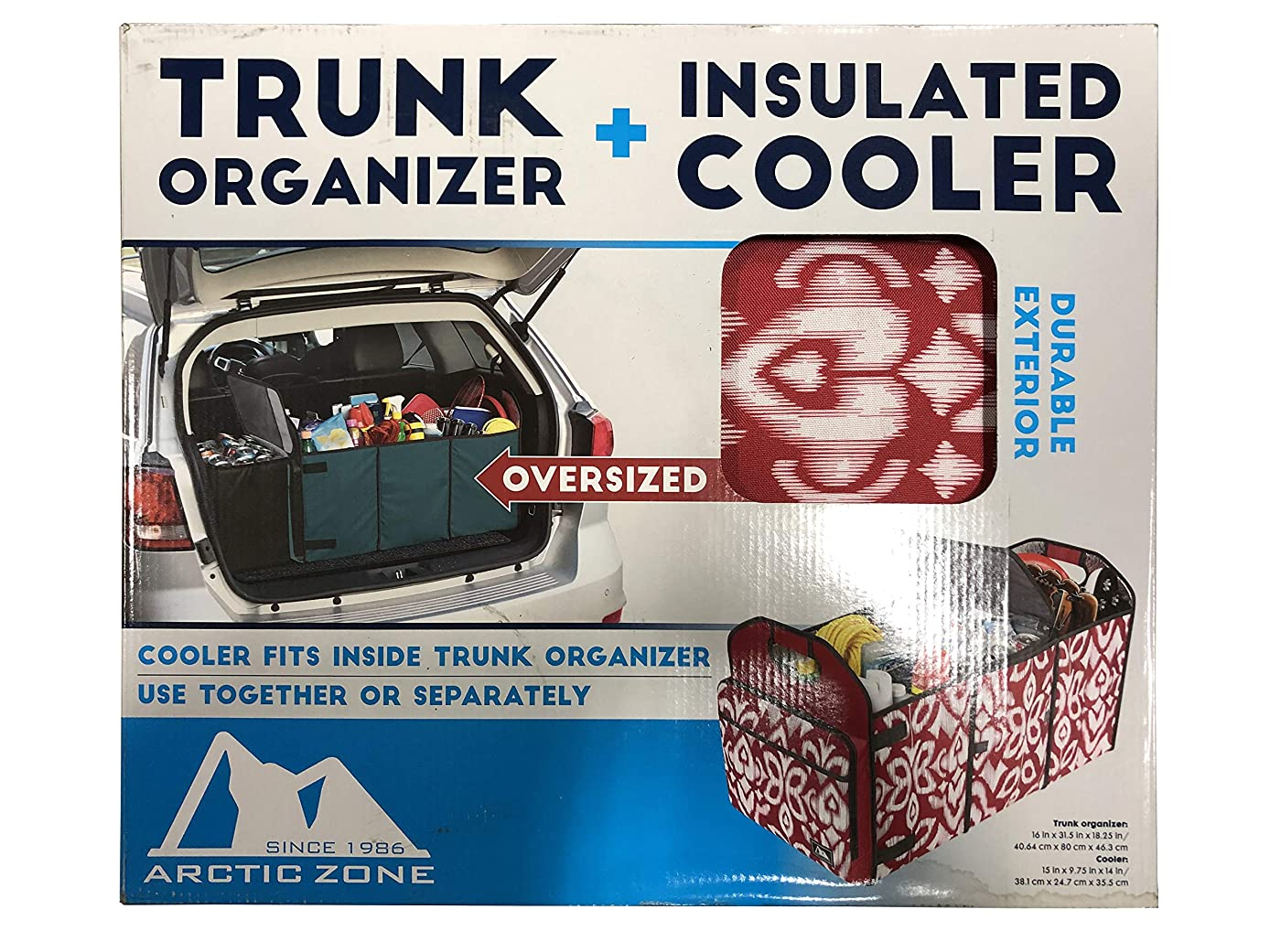 Arctic Zone Trunk Organizer with 35 Can Cooler Insert, Red