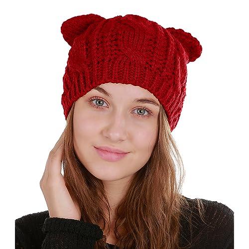 Urban CoCo Women s Winter Knitted Hat Crochet Cat Ear Beanie Cap 977b2ef4114f