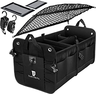 TRUNKCRATEPRO Premium Multi Compartments Collapsible Portable Trunk Organizer for Auto, SUV, Truck, Minivan with Black Cover Net