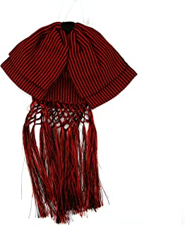Mexican Charro Bow Tie Red elastic band Red and Black stripe