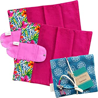 折り畳みタイプ2枚セット 南インド「Eco Femme」布ナプキン 洗えるオーガニックコットン(肌面色付き)ポーチ付き