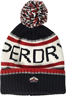 New Mens Superdry Factory Second Super SD Logo Beanie Navy//Red