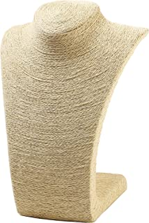 """Juvale Beige Burlap Necklace Stand - Display Bust for Statement Necklaces, Single Strand Pendants, Choker Necklaces - 11"""""""