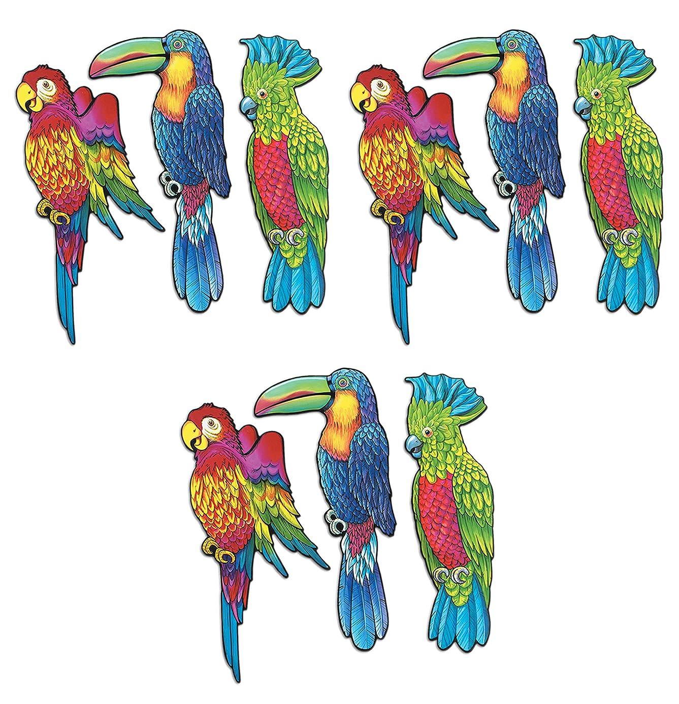 Beistle S55926AZ3, 9 Piece Exotic Bird Cutouts, 17