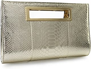 Hoxis Classic Crocodile Pattern Faux Patent Leather Metal Grip Cut it out  Clutch with Shoulder Strap 723a22128f88c
