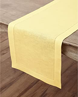 Solino Home Hemstitch Linen Table Runner - 14 x 48 Inch, Handcrafted from European Flax, Machine Washable Classic Hemstitch - Yellow