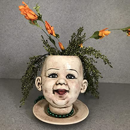 House planter, Baby doll head with tongue, Flower pot, Indoor planter, Ceramic pot, Face planter, Office planter Raspberry Baby #09