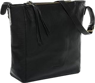 BACCINI Beuteltasche echt Leder Daisy groß Hobo Bag Schultertasche Ledertasche Damen schwarz