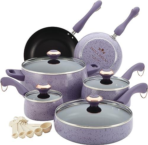 Paula Deen 13064 Signature Nonstick Cookware Pots and Pans Set, 15 Piece, Lavender Speckle