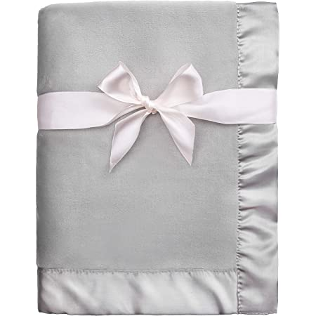 Pro Goleem Fleece Baby Blanket with 2 Inch Satin Trim Soft Anti-Static Plush Blanket for Boys and Girls, Gift for Babies, Gray 30''x40''