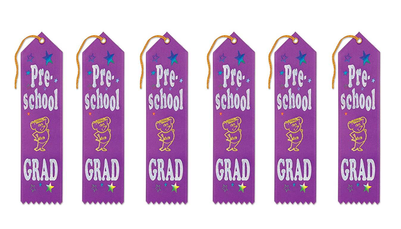 Beistle GAR301 Pre-School Grad Award Ribbons, 2 by 8-Inch, 6-Pack