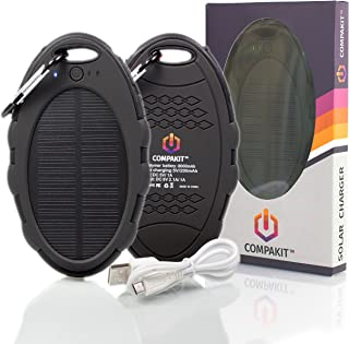 Solar Phone Charger by Compakit, High Capacity 8000 mAh Dual USB Solar Power Bank, Portable External Battery Charger, Universal Compatibility Cell Phone Battery Pack for Men & Women.