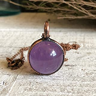 Crystal Ball Purple Amethyst Crystal Pendant Necklace Boho Stone Sphere Jewelry for Women