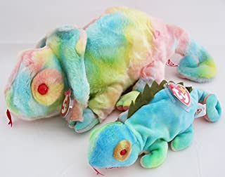 Ty Beanie Buddy & Baby Chameleon Set - Rainbow Iggy