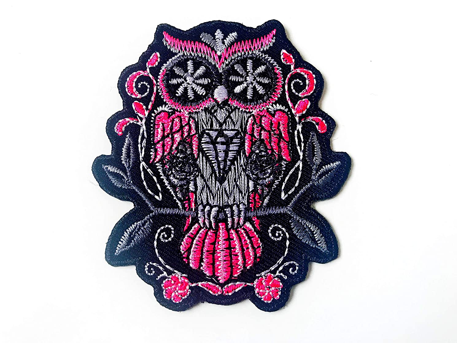 Tyga_Thai Brand Owl Tattoo Style Animal Tattoo Biker Rider Patch Embroidered Iron on Patches for Kids Backpacks Jeans Jackets Clothing etc. Patches (Iron-OWL-Patch)