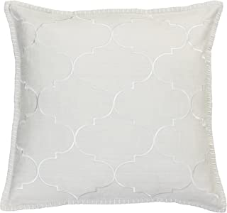 """Thro TH013560015E Ava Whipstitch Embroidered Pillow, 18"""" x 18"""", Natural"""