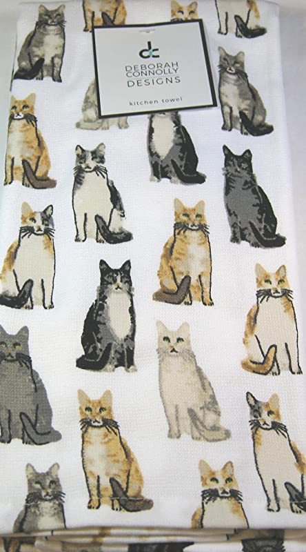 Deborah Connolly Designs Set Of 2 Plush And Absorbent Kitchen Towels Assorted Cats 100 Cotton