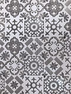 De'Carpet Vinilo PVC A Medida Alfombra FÁCIL Limpieza Antideslizante BALDOSA HIDRÁULICA Gris (65cm Ancho) (2 Metros)