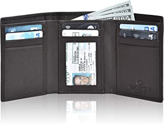 Trifold Leather Wallets for Men – Slim Design RFID Blocking Credit Card Holders & ID Window