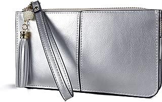 Women's Leather Wristlet Clutch Cell Phone Wallet, Multi Card Organizer Wallet Purse