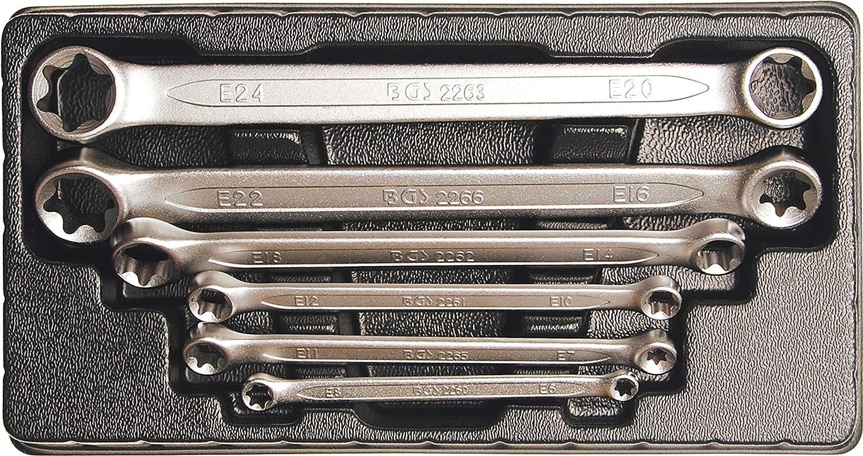 BGS 2268 | Juego de llaves de estrella dobles con cabezas E-Torx | E6 x E8 - E20 x E24 | 6 piezas