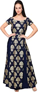 AHALYAA Women's Faux Crepe Kurti With Skirt (Blue)