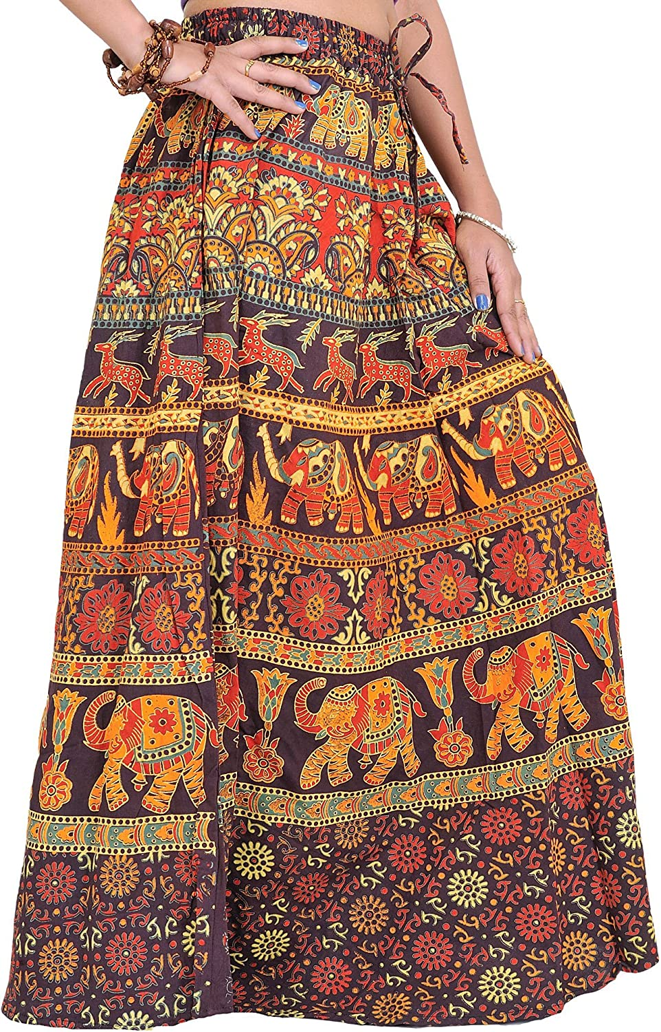 Exotic India Long Year-end gift Sanganeri Printed trust with Elephants and Skirt Dee